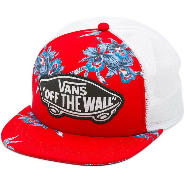casquette-trucker-rouge-beach-girl-hawaiian-vans