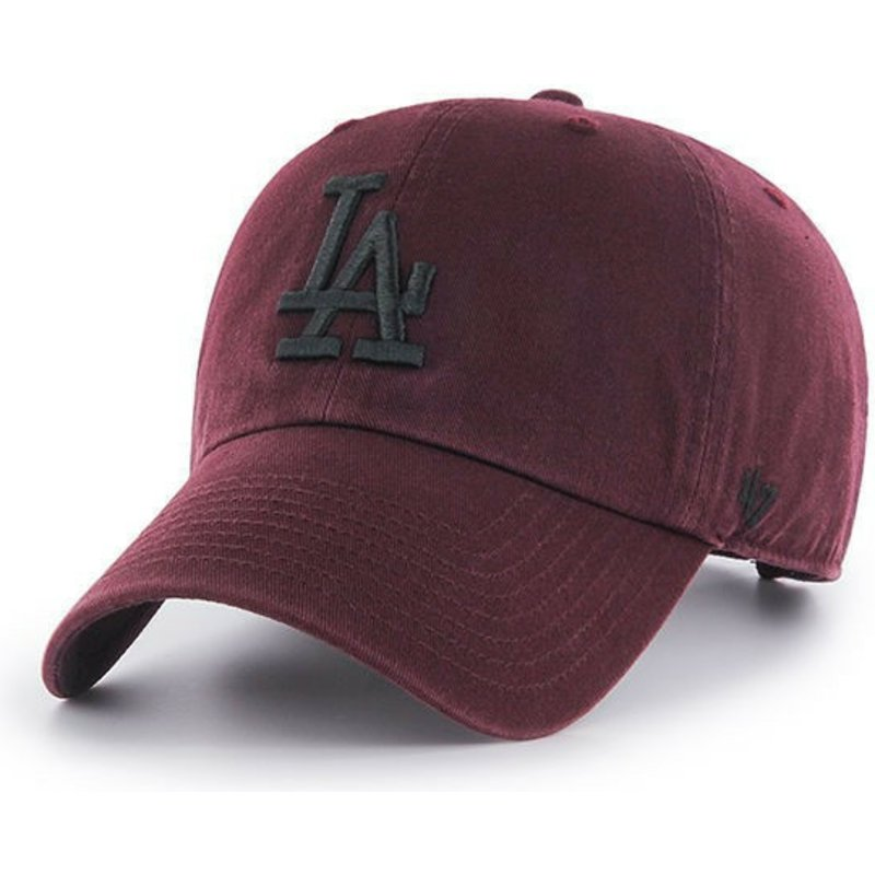 casquette-courbee-grenat-avec-logo-noir-los-angeles-dodgers-mlb-clean-up-47-brand
