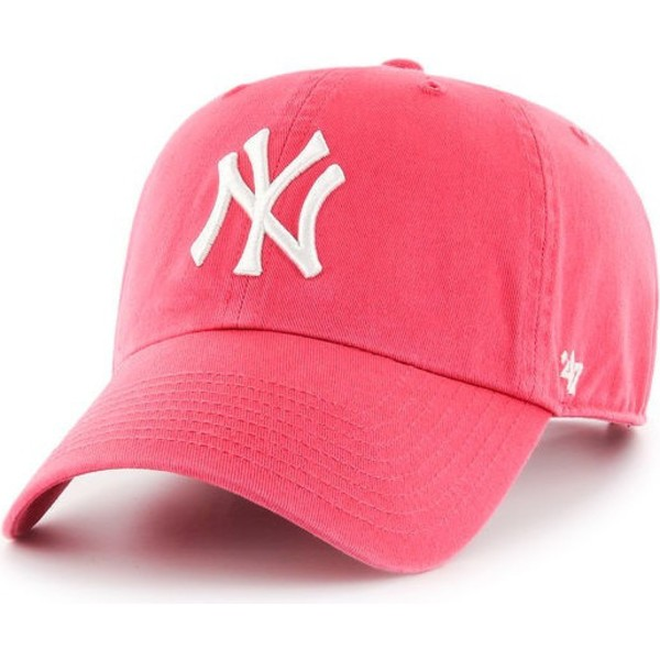 casquette-courbee-chewing-gum-rose-new-york-yankees-mlb-clean-up-47-brand