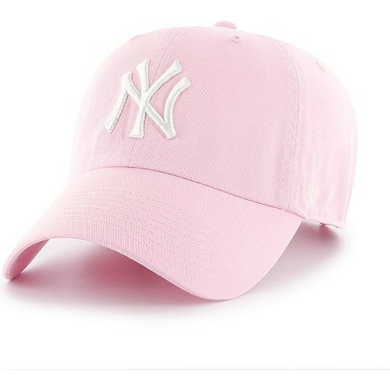 casquette-courbee-rose-claire-new-york-yankees-mlb-clean-up-47-brand