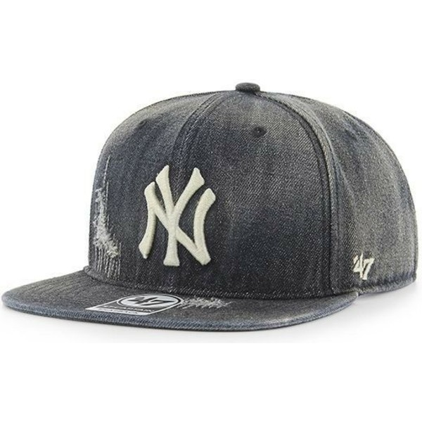 casquette-plate-noire-cuir-new-york-yankees-mlb-captain-loughlin-47-brand