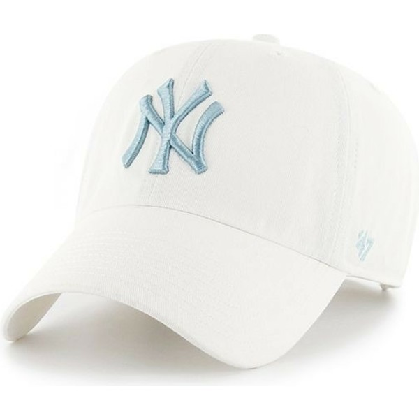 casquette-courbee-blanche-avec-logo-bleue-new-york-yankees-mlb-clean-up-47-brand