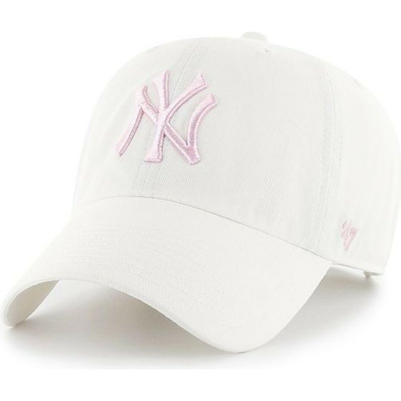casquette-courbee-blanche-avec-logo-rose-new-york-yankees-mlb-clean-up-47-brand
