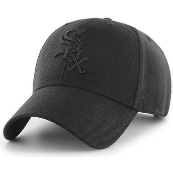 Casquette courbée noire snapback avec logo noir Chicago White Sox MLB MVP 47 Brand