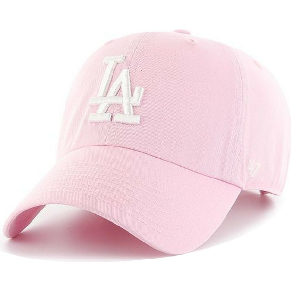casquette-courbee-rose-avec-logo-blanc-los-angeles-dodgers-mlb-clean-up-47-brand