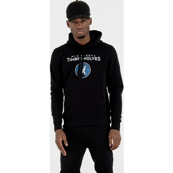 Sweat à capuche noir Pullover Hoody Minnesota Timberwolves NBA New Era