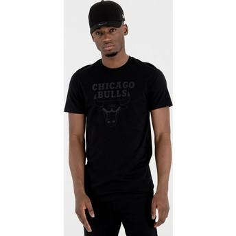 T-shirt à manche courte noir avec logo noir Chicago Bulls NBA New Era