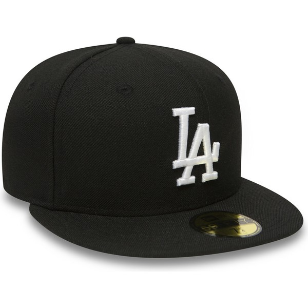 casquette-plate-noire-ajustee-59fifty-essential-los-angeles-dodgers-mlb-new-era