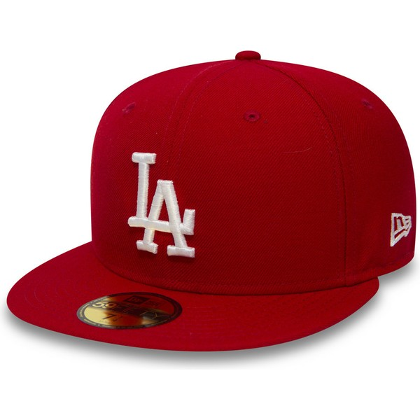 casquette-plate-rouge-ajustee-59fifty-essential-los-angeles-dodgers-mlb-new-era