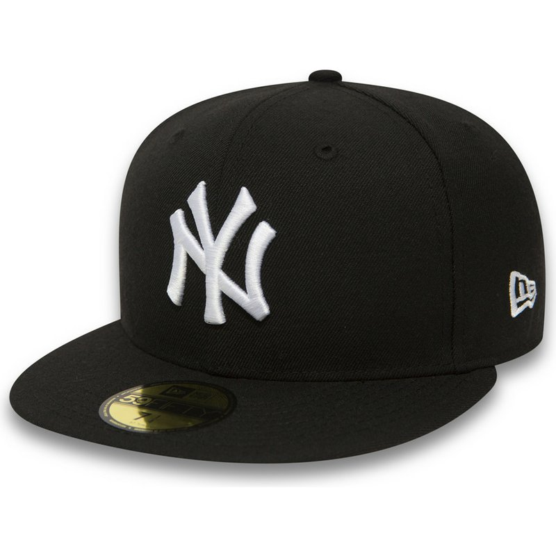 casquette-plate-noire-ajustee-59fifty-essential-new-york-yankees-mlb-new-era