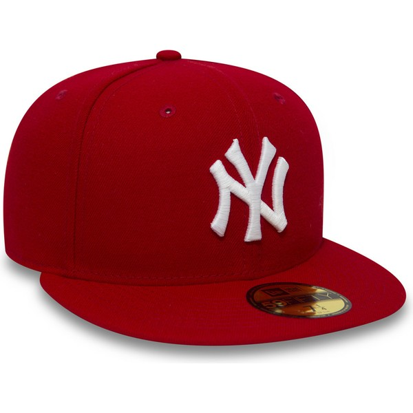 casquette-plate-rouge-ajustee-59fifty-essential-new-york-yankees-mlb-new-era