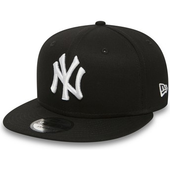 Casquette plate noire snapback 9FIFTY White on Black New York Yankees MLB New Era