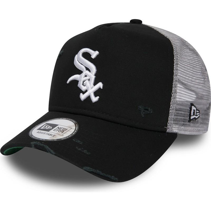 mieux aimé 9d8f9 ba721 Casquette trucker noire Distressed A Frame Chicago White Sox MLB New Era