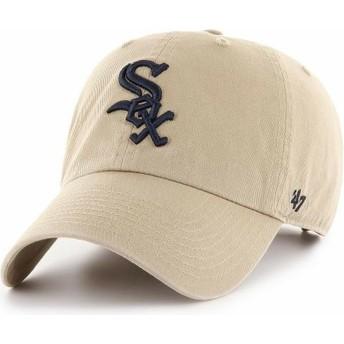 Casquette courbée beige avec logo noir Chicago White Sox MLB Clean Up 47 Brand
