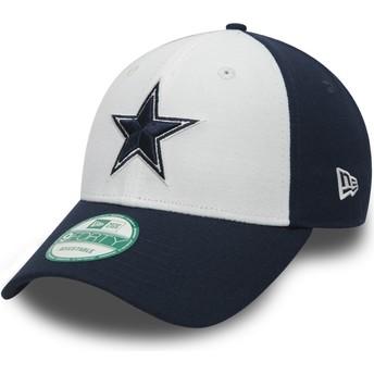 Casquette courbée blanche et bleue marine ajustable 9FORTY The League Dallas Cowboys NFL New Era