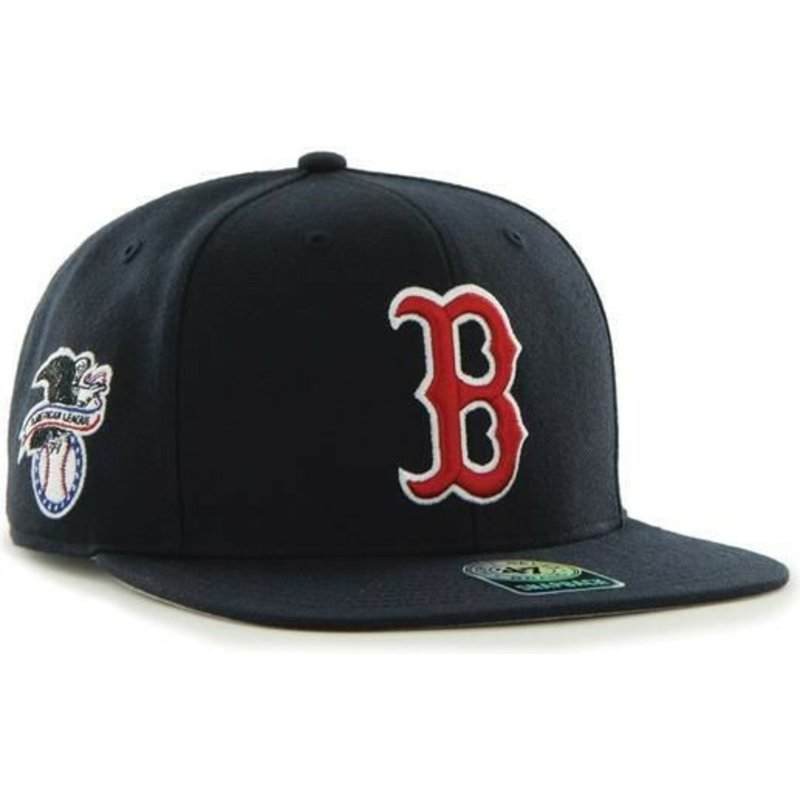 casquette-plate-bleue-marine-snapback-boston-red-sox-mlb-captain-sure-shot-47-brand