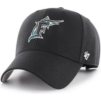 Casquette courbée noire ajustable avec logo classique Miami Marlins MLB MVP Cooperstown 47 Brand
