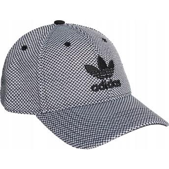 Casquette courbée blanche et noire avec logo noir Trefoil Primeknit Adidas