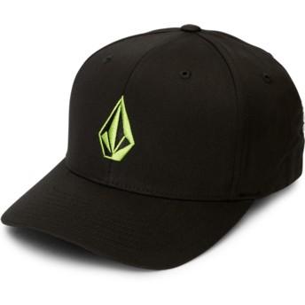 Casquette courbée noire ajustée avec logo vert Full Stone Xfit Thyme Green Volcom