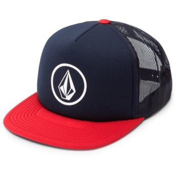Casquette trucker bleue marine avec visière rouge Full Frontal Cheese Engine Red Volcom