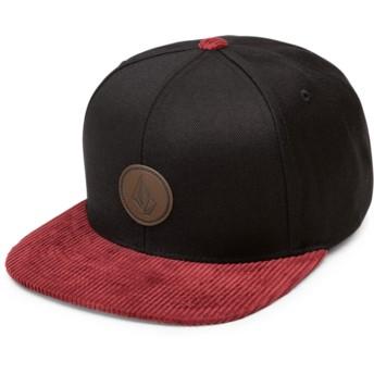 Casquette plate noire snapback avec visière rouge Quarter Fabric Cabernet Volcom