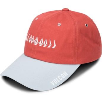 Casquette courbée rouge ajustable avec visière grise Splat Copper Volcom