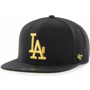 Casquette plate noire snapback avec logo or Los Angeles Dodgers MLB Captain Metalivise 47 Brand