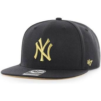 Casquette plate noire snapback avec logo or New York Yankees MLB Captain Metalivise 47 Brand