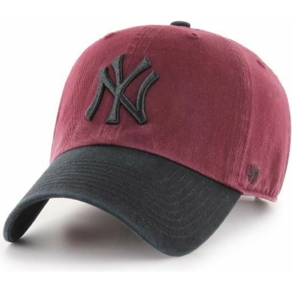 casquette-courbee-rouge-avec-visiere-et-logo-noir-new-york-yankees-mlb-clean-up-two-tone-47-brand
