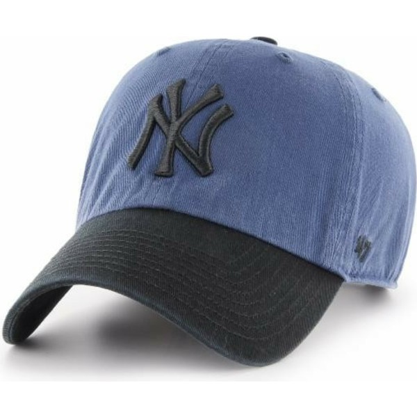 casquette-courbee-bleue-marine-avec-visiere-et-logo-noir-new-york-yankees-mlb-clean-up-two-tone-47-brand