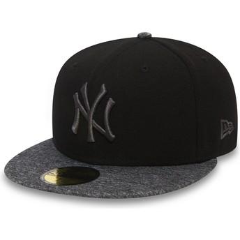 Casquette plate noire ajustée avec logo et visière grise 59FIFTY Grey Collection New York Yankees MLB New Era