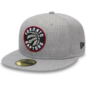 Casquette plate grise ajustée 59FIFTY Heather Toronto Raptors NBA New Era