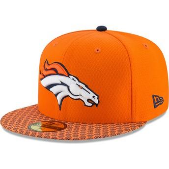 Casquette plate orange ajustée 59FIFTY Sideline Denver Broncos NFL New Era