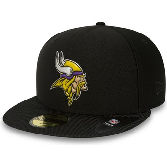 Casquette plate noire ajustée 59FIFTY Black Coll Minnesota Vikings NFL New Era