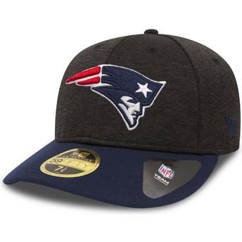 Casquette courbée pierre et bleue ajustée 59FIFTY Low Profile Shadow Tech New England Patriots NFL New Era