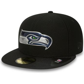 Casquette plate noire ajustée 59FIFTY Black Coll Seattle Seahawks NFL New Era