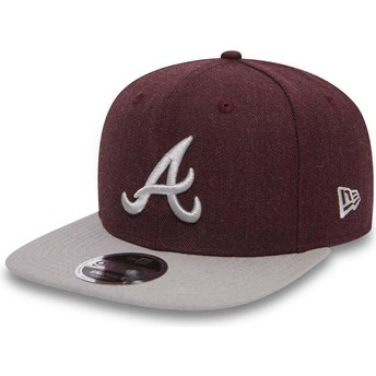 Casquette plate rouge et grise snapback 9FIFTY Seasonal Heather Atlanta Braves MLB New Era