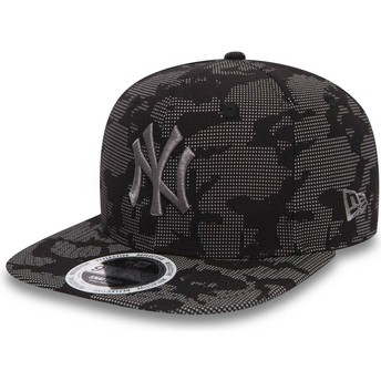 Casquette plate noire snapback avec logo grise 9FIFTY Night Time Reflective New York Yankees MLB New Era