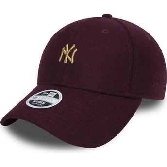 Casquette courbée grenat ajustable avec logo or 9FORTY Melton New York Yankees MLB New Era