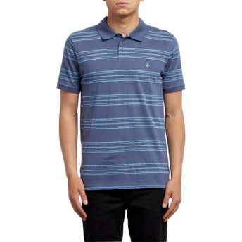 Polo à manche courte bleu Wowzer Stripe Deep Blue Volcom