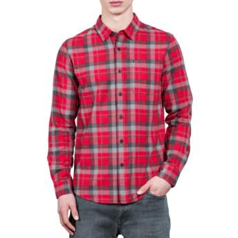 Chemise à manche longue rouge à carreaux Caden Deep Red Volcom