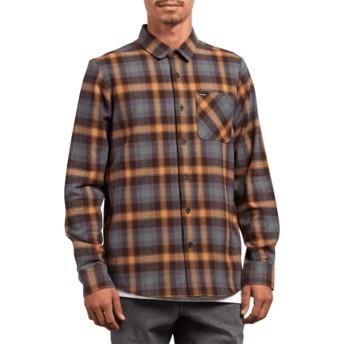 Chemise à manche longue marron et bleue à carreaux Caden Plaid Espresso Volcom