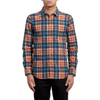 Chemise à manche longue orange et bleue à carreaux Hayden Scream Red Volcom