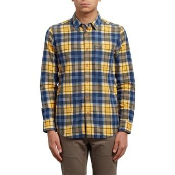 Chemise à manche longue jaune et bleue à carreaux Hayden Tangerine Volcom