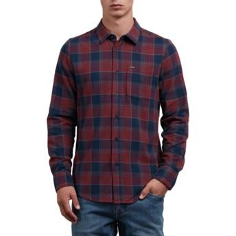 Chemise à manche longue rouge et bleue marine à carreaux Caden Crimson Volcom