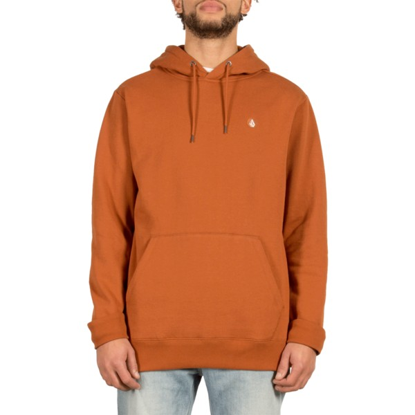 sweat-a-capuche-marron-single-stone-copper-volcom