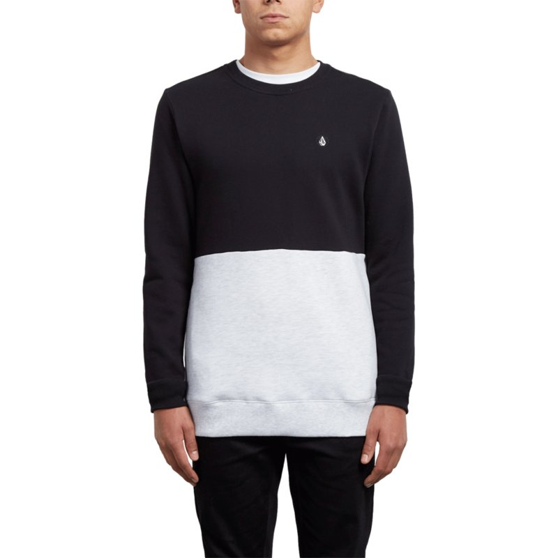 sweat-shirt-noir-et-blanc-single-stone-division-black-out-volcom