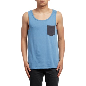 T-shirt sans manches bleu Pocket Wrecked Indigo Volcom