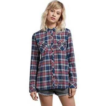 Chemise à manche longue bleue marine et rouge à carreaux Street Dreaming Vintage Navy Volcom