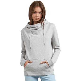Sweat à capuche gris Walk On By High Neck Heather Grey Volcom
